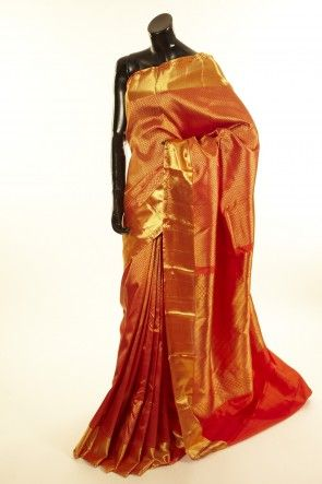 Kancheepuram, Kanjipuram- silk peachy orange saree with blouse