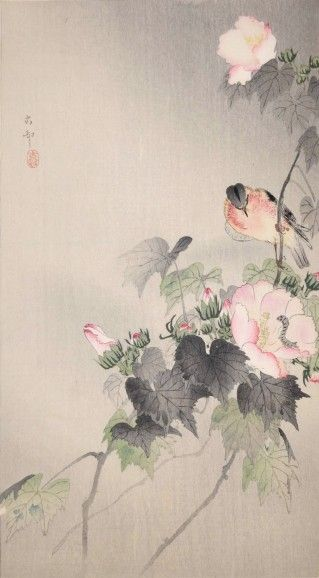 Stonechat and Cotton Rose--Koson