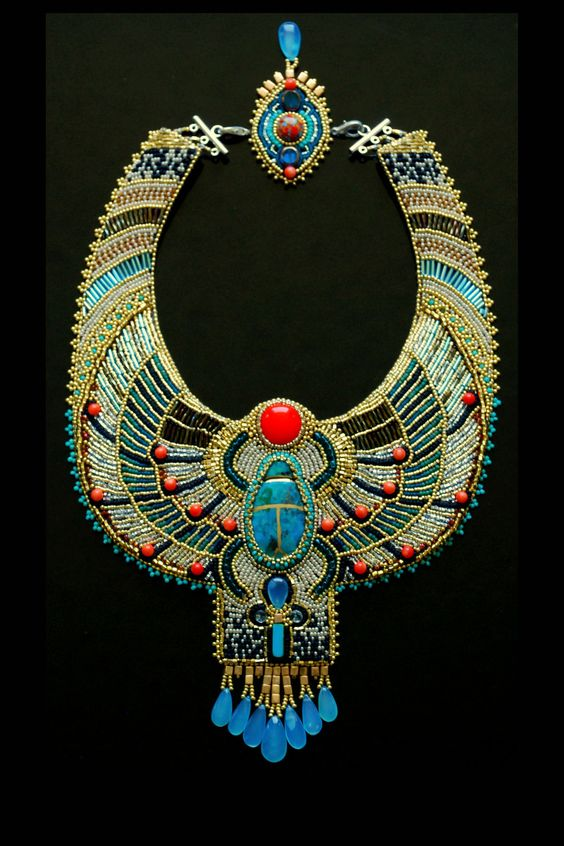 Egyptian Scarab Necklace -  CUSTOM Made to ORDER - Bead Embroidered Necklace, Statement Necklace, Collar Necklace. $635.00, via Etsy.