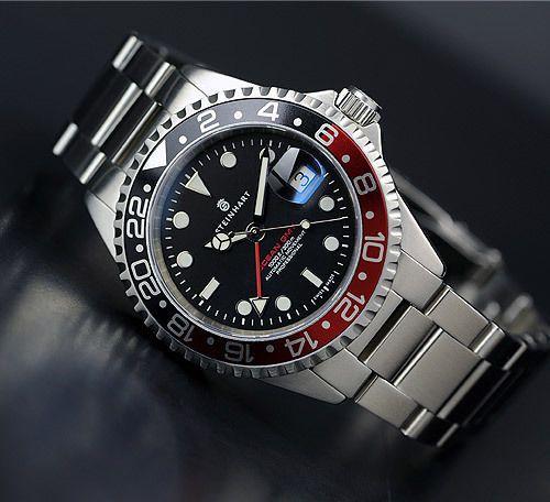 Steinhart Gmt Ocean 1 Black Red Watches For Men Luxury Watches For Men Steinhart Watch