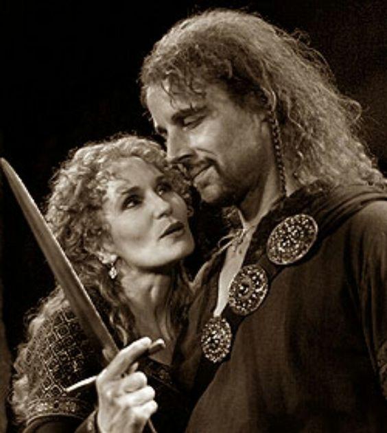 Lady Macbeth using her manipulative skills to convince Macbeth to murder Duncan.