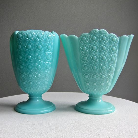Turquoise Blue Milk Glass Fan Vase Daisy And Button Pattern By