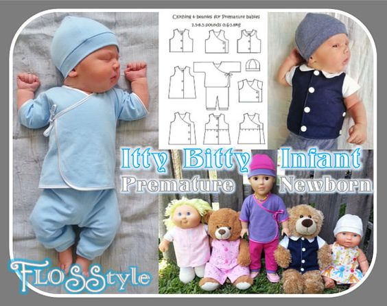TITLE: ITTY BITTY INFANT PDF PATTERN    STYLE: Baby clothing. Font opening to accommodate monitors for hospital use.    SIZES: Premature 1.5lb / 0.6kg