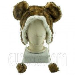 Cheetah Brown Mickey Big Ear Mascot Plush Costume Halloween Party Hat Cap Mask