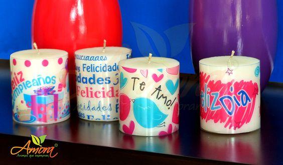 Enamora con amora. Velas personalizadas.  www.amoraweb.com