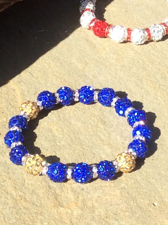 A personal favorite from my Etsy shop https://www.etsy.com/listing/252916460/shamballa-bracelet-blue-and-gold