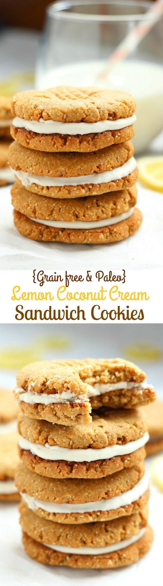 Lemon coconut, Sandwich cookies and Coconut cream on Pinterest