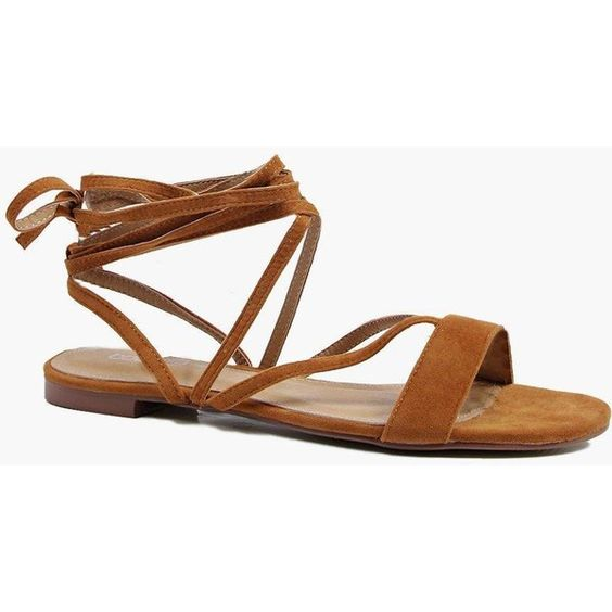 Boohoo Vanessa Strappy Lace Up Sandal (46 CAD) ❤ liked on Polyvore featuring shoes, sandals, tan, strappy wedge sandals, wedge heel sandals, wedge sandals, strappy sandals and strappy heeled sandals