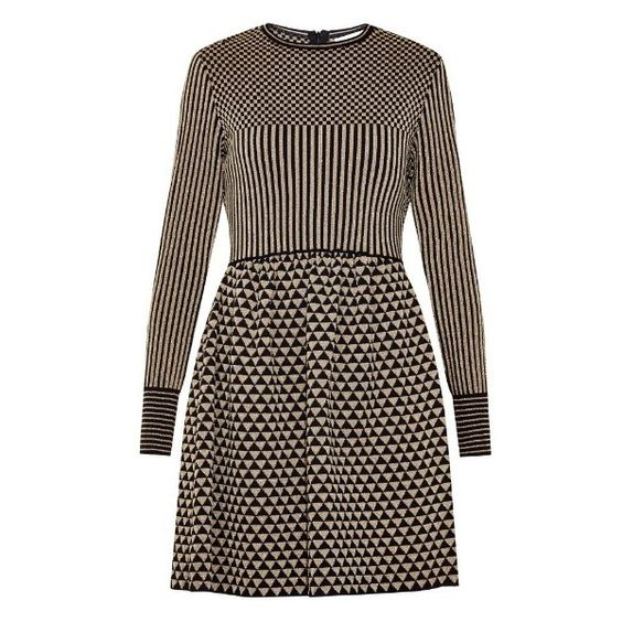 Valentino Panelled jacquard-knit dress ($2,090) ❤ liked on Polyvore featuring dresses, black gold, black dress, short black mini skirt, black striped dress, short skirts and valentino dresses