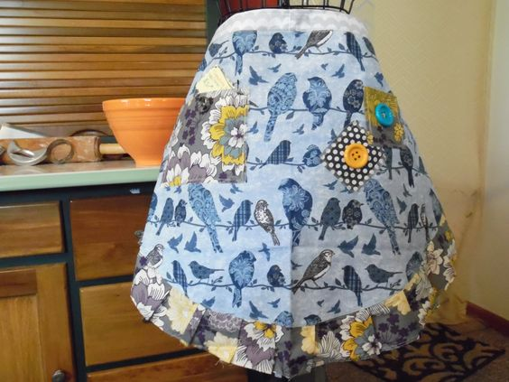 Birds of a Feather TreadlingHome Traditional Half Apron by TreadlingHome on Etsy