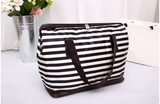 2015 Brand women fashion handbag/Korean style waterproof  short trip large bag/dots stripes travel bag/luggage bag/free shipping
