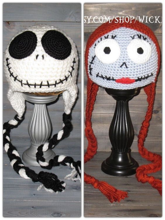 Adult Sally Nightmare Before Christmas crochet hat, Jack Skellington Tim Burt...