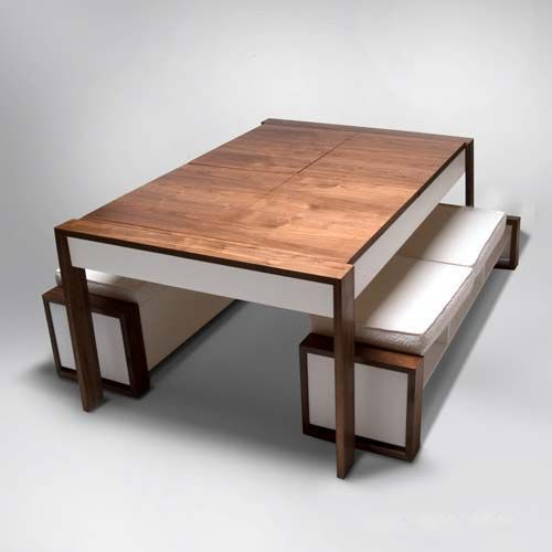 I like the idea of the benches sliding under the table