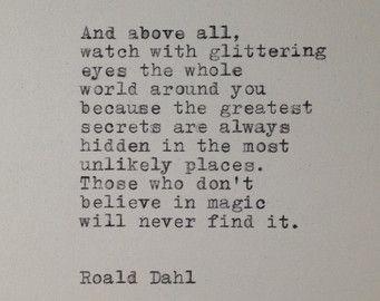 Roald Dahl Quote Typed on Typewriter