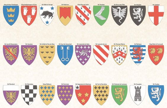 Some of the Coats of Arms of major characters. (Though a few haven't be introduced in game yet, like Sir Lancelot or Sir Mordred)