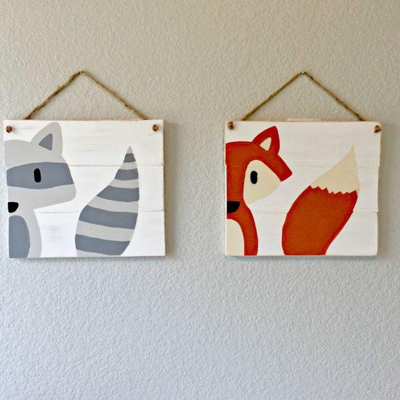 Set of 2 Woodland Animal Paintings Woodland von RusticRageDecor