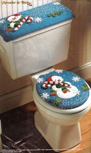 decorar banheiro jogos: Jogo De Banheiro Boneco De Neve. Lindo Kit De Feltro Jogo De Banheiro