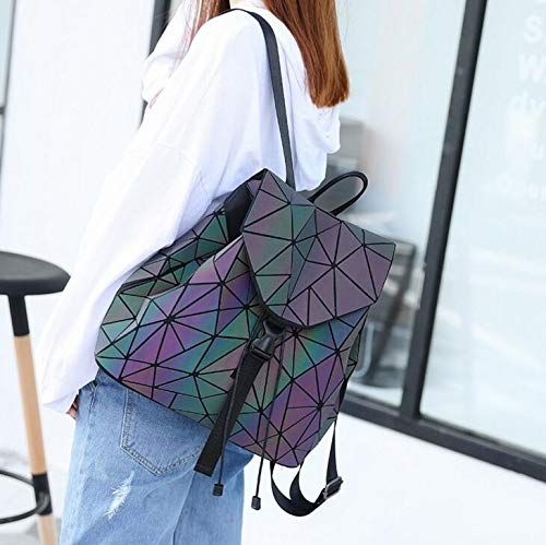 Women Backpack School Hologram Laser Luminous Geometric Holographic Student Bags