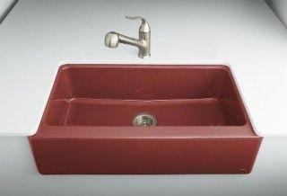Red Kitchen Sink : Apron-front red kitchen sink by Kohler.