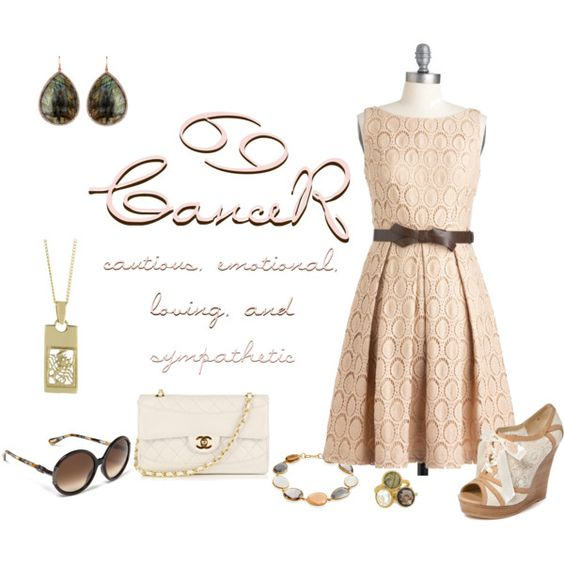 "Pale pink dress with labradorite jewelry -- ""Zodiac: Cancer"" by exaybachay on Polyvore"