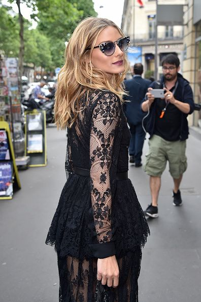 Olivia Palermo arrives at Elie Saab Fashion Show during Paris Fashion Week Haute Couture Fall 2016 on July 6, 2016 in Paris
