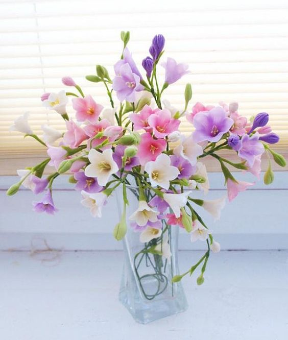 Flower Arrangement campanula cold porcelain gift by ColdPorcelaine: