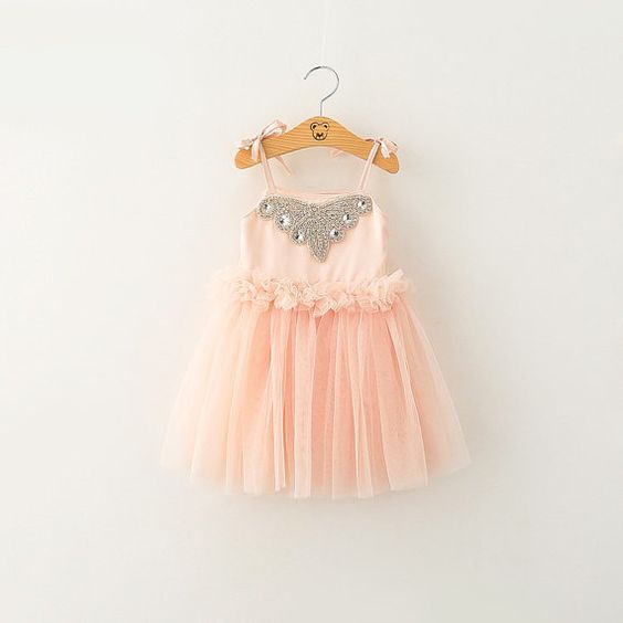 Girl's Pink Rhinestone Ruffle Tutu Dress/ photo by PresleyCouture come pack and look at for 1st birthday