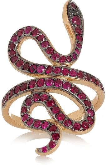 ILEANA MAKRI Slither Snake 18karat Rose Gold Ruby and Diamond Ring