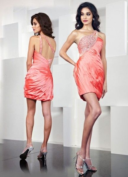 Exquisite One Strap Beading Pleated Exclusive Back Design Cocktail Dress
