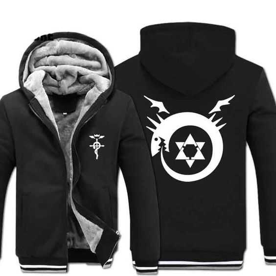 G0001New Winter Warm Fullmetal Alchemist Hoodies Anime Hooded Coat Thick Zipper men cardigan Jacket Sweatshirt US $61.42 CLICK LINK TO BUY THE PRODUCT  http://goo.gl/oYWEYs