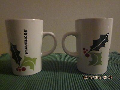 STARBUCKS COFFEE CUP MUGS CHRISTMAS MATCHING PAIR NEW RARE