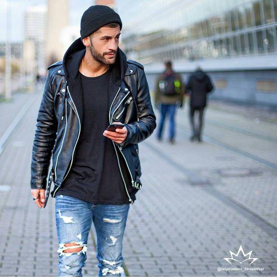 Men street style leather biker jacket hoodie ripped jeans men's fashion