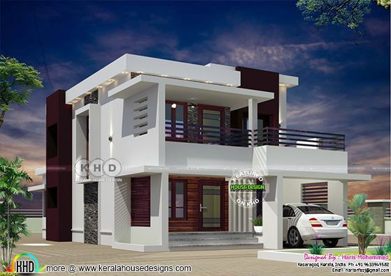 Flat Roof Modern House Plan 1922 Sq Ft Kerala House Design Modern Style House Plans Bungalow House Design