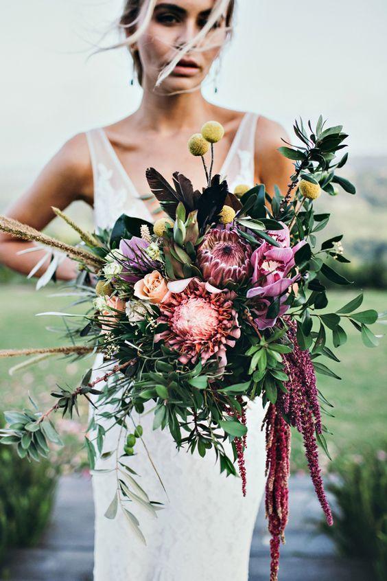 30 Amazing Protea Wedding Bouquets Protea Wedding Wedding Flower Guide Summer Wedding Bouquets