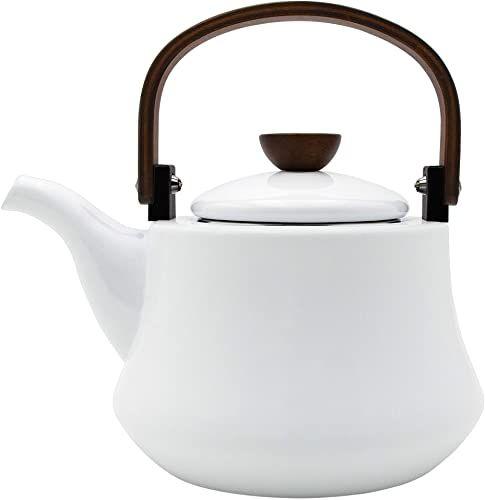 Amazing Offer On Enameled Tea Kettles Aidea 1 8 Quart Ceramic Tea Kettle Stovetop Induction Enamel On Steel Serving Tea Pot Wooden Handle Large Porcelain T In 2020 Tea Kettle Wooden Handles Tea Pots