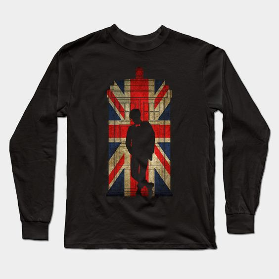 11th Doctor In Union Jack Long Sleeve T-Shirt