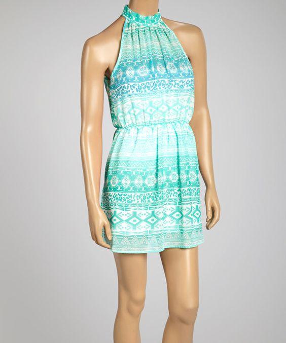 Love this Mint & White Cutout Sleeveless Dress by Freshmint on #zulily! #zulilyfinds