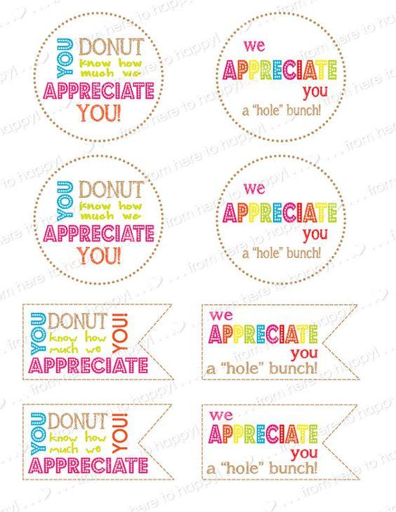 Donut, Holes-Teacher gifts, teacher appreciation, thank ...