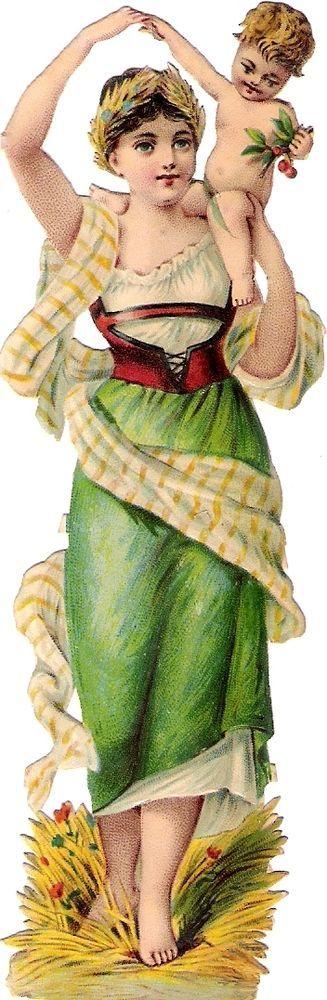 Oblaten Glanzbild scrap die cut Dame  14cm Sommer lady summer baby Jahreszeit 2: