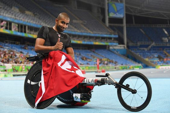 Walid Ktila of Tunisia celebrates winning the gold medal in the Men's 100m - T34 Final on day 5 of the Rio 2016 Paralympic Games at the Olympic Stadium on September 12, 2016 in Rio de Janeiro, Brazil.