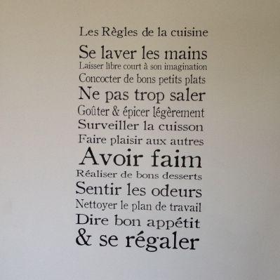 Sticker Mural Règles De La Cuisine | Messages, Decoration And