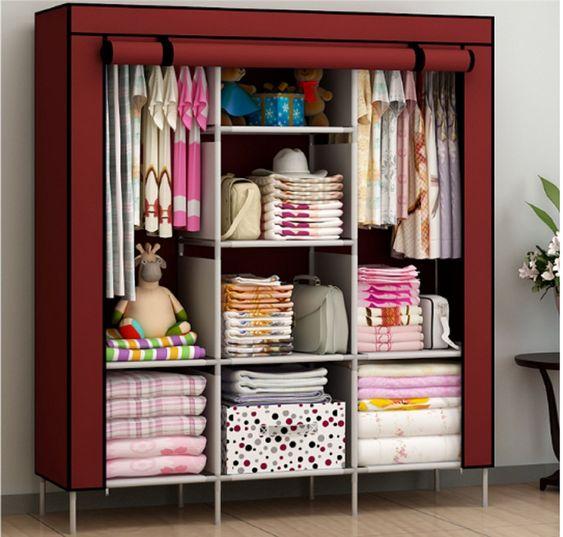 New Portable Bedroom Furniture Clothes Wardrobe Closet Storage Cabinet Armoires | eBay