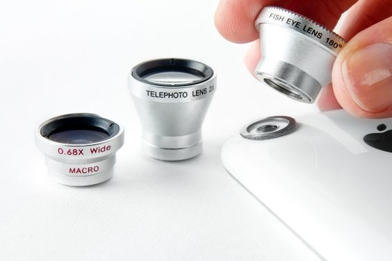 Three lenses to use with your cell phone (any cell phone). They attach with a magnetic ring. Come in fisheye, telephoto, and wide/macro. $50.00 for all three.  So cool!