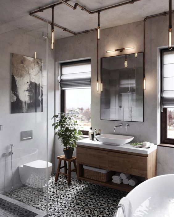 Wall hung industrial farmhouse bathroom | Innovate Building Solutions | #WallHungVanity #ShowerDesign #BathroomIdeas
