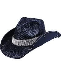 Peter Grimm Dessau Bling Black Straw Cowgirl Hat - Sheplers