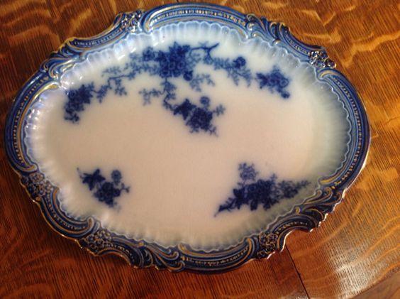 Flow Blue  La Belle Platter Vintage Gorgeous by JennersGemsVintage, $145.00