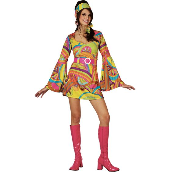 Details About Retro 60s 70s Groovy Gogo Girl Fancy Dress Costume Fancy Dress Costume Period