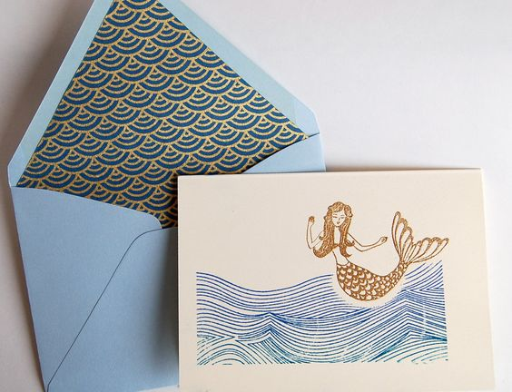 Mermaid Note Card Gold and Royal Blue Turquoise by ArtisanPost, $6.50