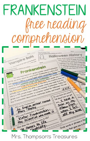 Free reading comprehension and questions about Frankenstein!