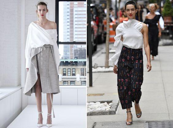 Tá na moda:Ombros à mostra no NYFW- Marcas apostam em modelagens desconstruídas…